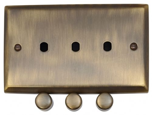 G&H SAB13-PK Spectrum Plate Antique Bronze 3 Gang Dimmer Plate Only inc Dimmer Knobs